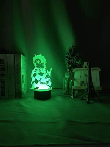 Anime Demon Slayer Cara Empalme Acrílico Luz LED para Decoración Dormitorio Luz Fresca Kimetsu No Yaiba Lámpara Gift-E-7_Color_no_Remote