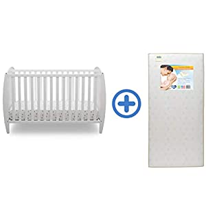 Delta Children Archer 4-in-1 Convertible Baby Crib & Twinkle Stars Waterproof Fiber Core Crib and Toddler Mattress, Bianca White