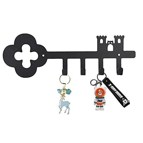 O-heart Key Holder for Wall Mounted, Black Towel Racks with 4 Hooks, Steel Key Rack Vintage Door...