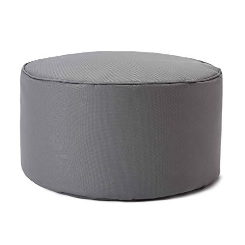 Lumaland Indoor Outdoor Sitzhocker 25 x 45 cm - Wasserabweisend - Pflegeleicht - Runder Sitzpouf, Sitzsack Hocker, Sitzkissen, Bean Bag Pouf - ideal für Kinder und Erwachsene - Grau