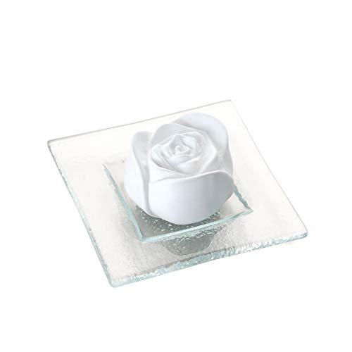 Primavera Duftstein Rosenblüte mit Glasteller