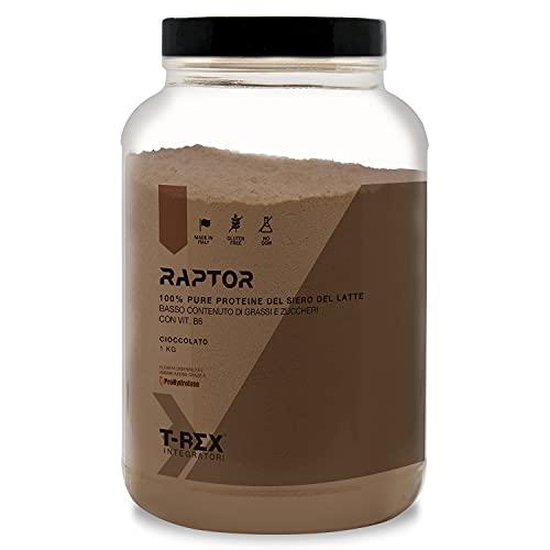 Isolate Whey Protein RAPTOR in polvere 1kg Integratore di proteine del siero del latte isolate Ultrafiltrate Volac Volactive Cioccolato T-Rex Integratori Made in Italy