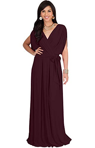 KOH KOH Womens Long Formal Short Sleeve Cocktail Flowy V-Neck Casual Bridesmaid Wedding Party Guest Evening Cute Maternity Work Gown Gowns Maxi Dress Dresses, Maroon Wine Red L 12-14