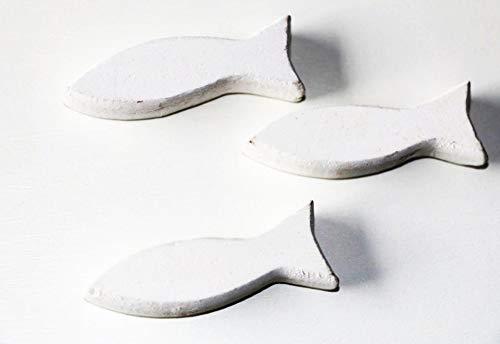 24 Stk Holzfische WEISS 6,5cm Shabby Chic Holz Fische Tischschmuck Namenskarten Tischkarten Tischdeko Kommunion Konfirmation maritime Deko Ostsee Nordsee Taufe Holzfisch Deko Fische maritim Nautica