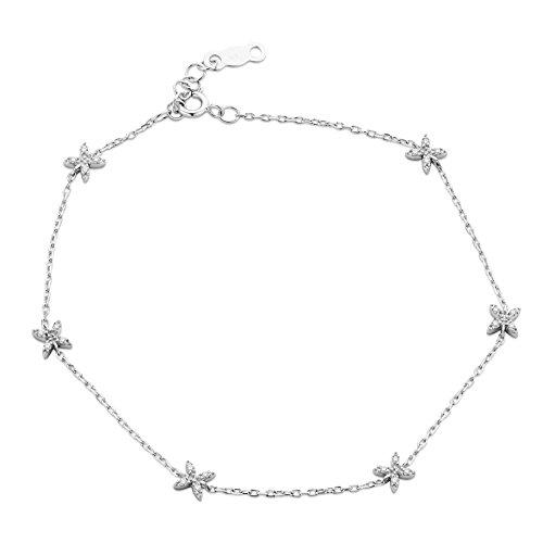 Orovi Bracciale Donna con Catena in Oro Bianco con Diamanti Taglio Brillante Ct 0.07 Oro 9 Kt / 375 Cm 18