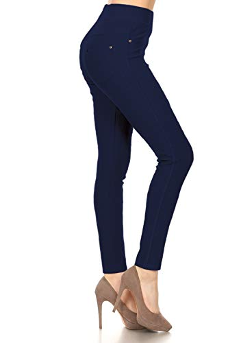 Leggings Depot Premium Quality Cotton Blend Stretch Jeggings with 2 Pockets