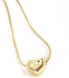 Heart-shaped Love Necklace for Women's Gold Gold Plated Ladies Necklace Engraved with GOODLUCK