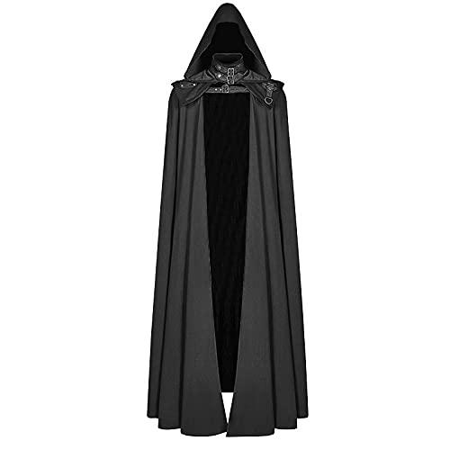 CNLINAHOME Capa con Capucha Medieval Abrigo gótico Trincheras largas Capa de Mago del Diablo de Halloween Capa de túnica Black-S