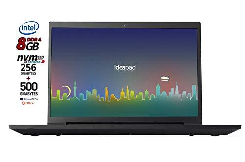 Notebook Lenovo Slim Cpu Intel N4000 dual core, SSD da 256Gb Nvme + HDD 500Gb, 8Gb DDR4, Display da 15,6 Antiglare, web cam, 3 usb, hdmi, bt, Win10 Pro, Office 2019, Pronto All'uso, Garanzia Italia