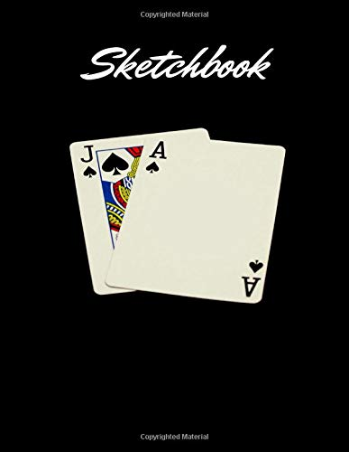 Sketch Book Notebook for Drawing, Writing, Painting, Sketching, Ace Of Spades and Jack of Spades Background Cover, Blank Paper 100 pages – Large (8.5 x 11 Inches)