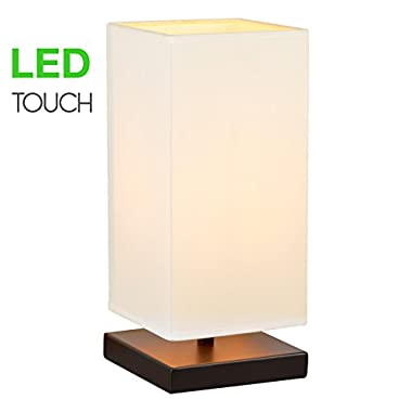 Revel Lucerna 13  TOUCH Bedside Table Lamp + 4W LED Bulb (40W eq.) Energy Efficient, Eco-Friendly, White Shade