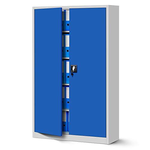 Jan Nowak Büroschrank C001II Aktenschrank XXL Metallschrank Flügeltüren Stahlblech Pulverbeschichtung 185 cm x 115 cm x 40 cm (grau/blau)
