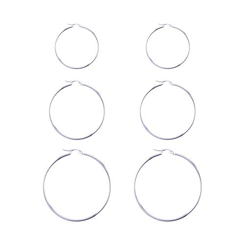 Airssory Juego de 3 pares de pendientes de aro de acero inoxidable 304 de 54/45/35 mm, para hombres y mujeres