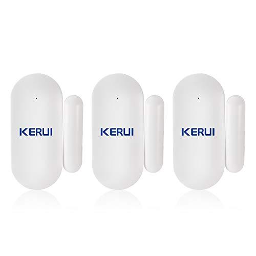KERUI MC7 Mini Sensor Puerta y Ventana Inalámbricos, Kit Alarma Antirrobo, Sensor Movimiento 433M, Compatible con KERUI Sistema Alarma Seguridad gsm/WiFi para Hogar/Tienda/Garaje/Oficina/Autocaravana