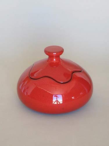 POLONIO - Bombonera de Ceramica Rojo - 13 Centímetros - Joyero de Ceramica - Caja de Ceramica - Decoracion Diseño Ideal para Joyas - Adorno para la Decoración- Jarrón de Cerámica Mediano Rojo