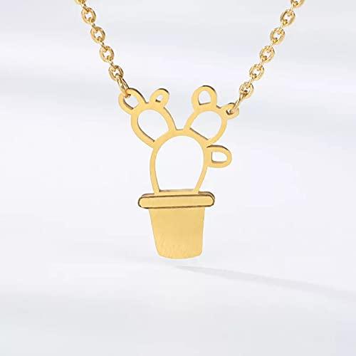 RTEAQ Moda Collar Joyas Gargantilla Bonsai Cactuss Colgante Collar Flores pequeñas Plantas...