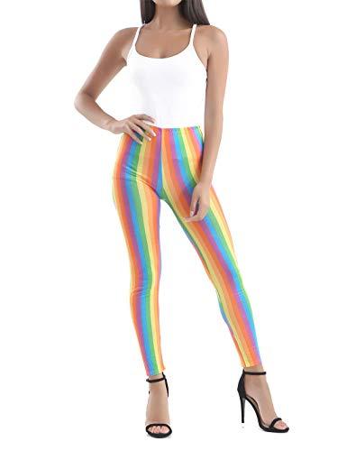 Islander Fashions Damen Regenbogen-gestreifte Leggings Frauen Clown Homosexuell Pride Parade Karneval Outfit Small/Medium