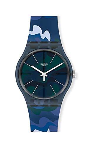Relok swatch SUON140 analógico de Camuflaje Azul con Correa de Silicona