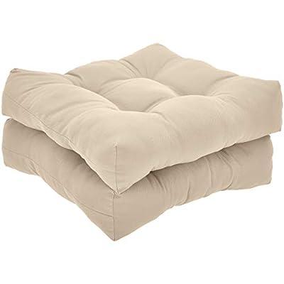AmazonBasics Tufted Outdoor Seat Patio Cushion - Pack of 2, 19 x 19 x 5 Inches, Khaki
