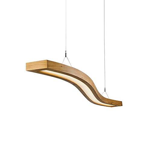 EYLM LED Pendelleuchte Holz Hängelleuchte 23W Hängellampe Wellen-Design 80cm Büroleuchte Höhenverstellbar 1m Pendellampe für Büro Esszimmer Esstisch