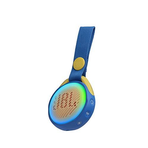 JBL JR Pop Mini-Boombox für Kids in Blau – Poppiger, wasserdichter Bluetooth-Lautsprecher mit eingebauten Lichtmotiven – Bis zu 5 Stunden Musik hören mit nur einer Akku-Ladung