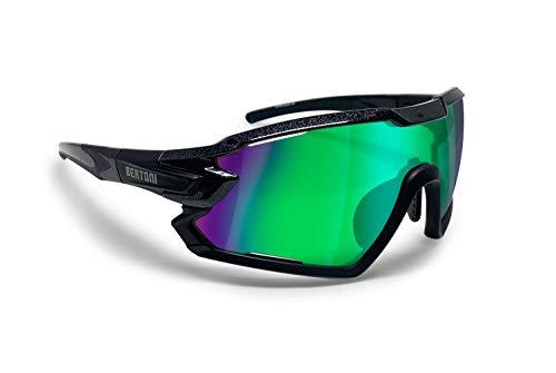 BERTONI Gafas Ciclismo Running MTB Esquí Tennis Padel Polaridas Fotocromaticas mod. Quasar (Negro/Espejo Verde)