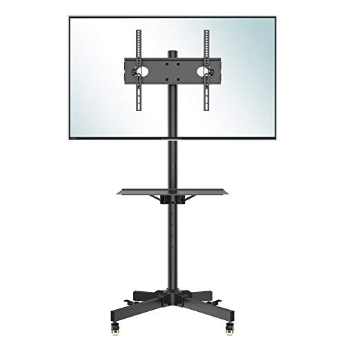 BONTEC Mobile TV Stand on Wheels for 23-55 inch Plasma/LCD/LED TVs, Portable TV Stand with Tray, Height adjustable Home Display Rolling TV Cart Trolly holds 25kg, Max. VESA 400x400mm