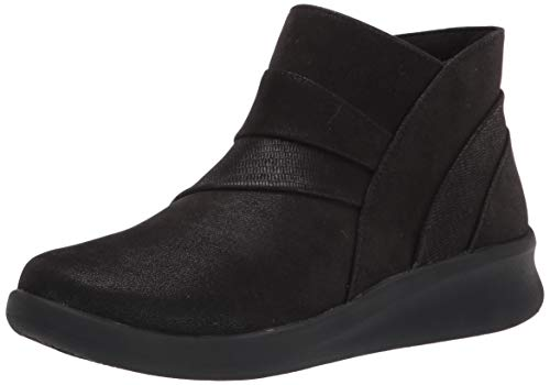 Clarks Women's Sillian 2.0 Rise Ankle Boot, Black Synthetic, 11 Wide