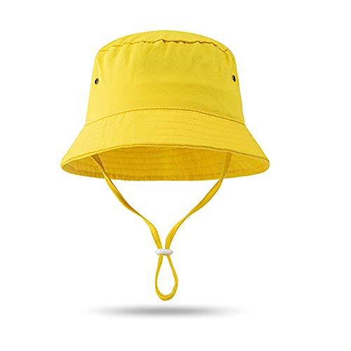 `Star Empty Sombreros para niños Bucket Hat Spring Summer Solid Color Tie-Dye Baby Hat Baby Beach Niños Caps Fishemen Sombreros para Niña (Color : Yellow, Size : 2 5 Years)