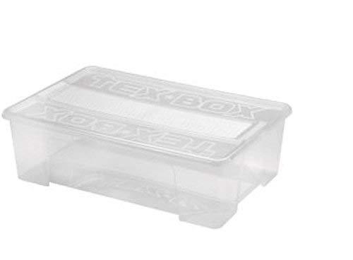 Heidrun 3 x Tex-Box mit Deckel + Klickverschluss - 28 Liter - 57 x 38 x 17 cm - transparent