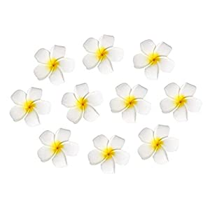 10pcs Hawaiian Artificial Plumeria Foam Flower Hair Clip for Wedding Party Headdress Home Decoration White Yellow