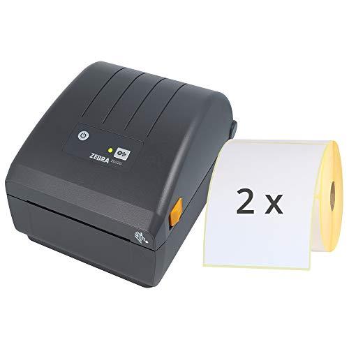 Labelident Starter-Set - Zebra ZD220 Drucker mit Abreißkante inkl. 1000 Etiketten mit Trägerperfo. (2 Rollen ERT-E103x150Z1), 203 dpi - Thermodirekt - 104 mm max. Druckbreite, USB