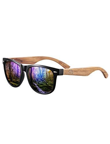 GREENTREEN Amexi Herren Damen Polarisierte Sonnenbrille, Unisex Holz/Bambus Sonnenbrille, UV400 (Blau)