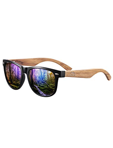 AMEXI Men's Wooden Sunglasses-Polarized Sunglasses Wooden Leg Sun Frame 100% UV Protection (Blue)
