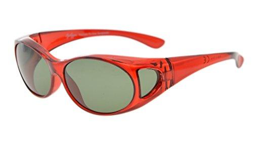 Eyekepper Sonnen-Überbrille | Überzieh-Sonnenbrille | UV 400 polarisiert für Brillenträger | Polbrille (Rote Rahmen/G15 Linse)