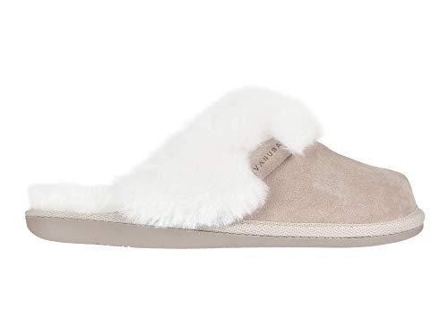 Vanuba Cashmere Handmade Damen Hausschuhe, Naturleder, 100% Schafwolle, Warme und Bequeme Hausschuhe, Velours Beige, Leder Weiß, 38 EU