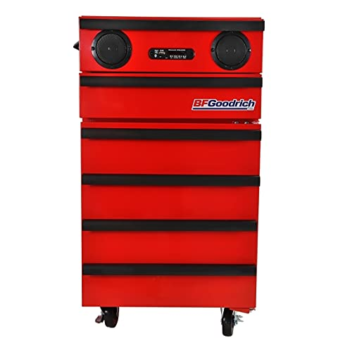 Koolatron BFG Classic Chest Fridge with Bluetooth Speaker, 1.8 Cu. Ft. (50L) -Built-in Power Station and USB Plugs, and Integrated Tool Storage for Garage or Shop-Red