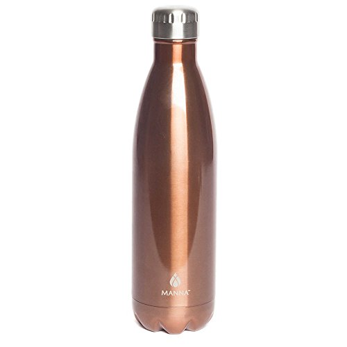 Manna Vogue Doppelwandige Wasserflasche aus Edelstahl, 750 ml, Kupferfarben