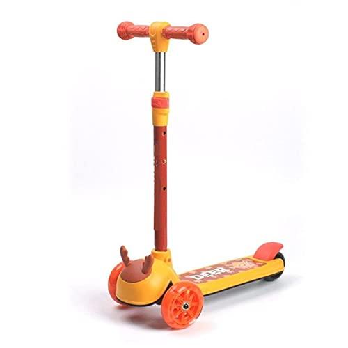 WANGYIYI Patinetes de 3 Ruedas Patinete de 3 Niveles de Altura Ajustable Scooter Plegables de aleación de Aluminio Scooters para niños con Ruedas Intermitentes de PU (Color : Orange)