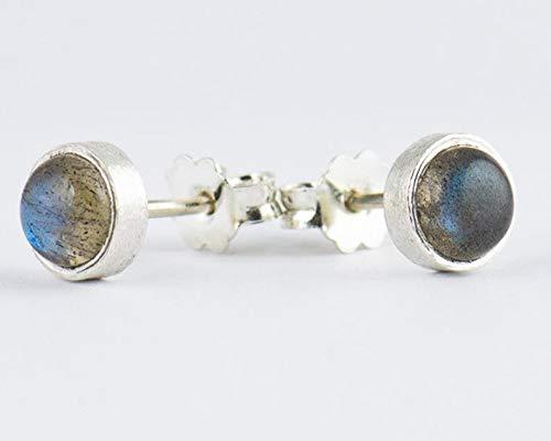 Mutter Geschenk Ohrringe, 925 Sterling Silber Labradorit Ohrstecker für Frauen, kleine Ohrstecker