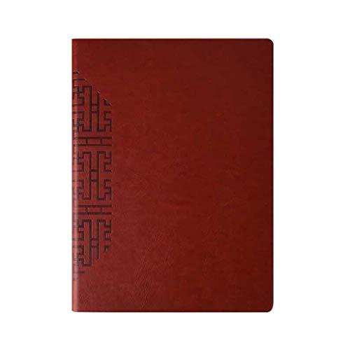 Cuadernos de taquigrafía A4 Cuaderno Negro PU Cuero Grueso Extra Grande Oficina de Negocios Trabajo Reunión Libro de Registro Cuaderno de Tapa Dura (Color : Red)