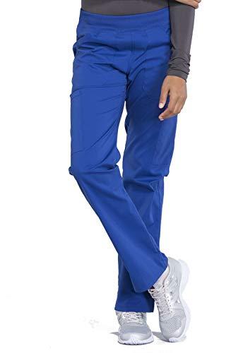 Workwear Professionals Women Scrubs Pant Mid Rise Straight Leg Pull-on Cargo WW170, L, Galaxy Blue
