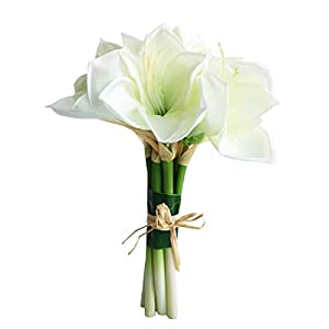 Jasming Real Touch Artificial Amaryllis Bush Bridal Bouquets Wedding Centerpieces Home Decor Boutonnieres Corsage Real Touch Flowers Faux Lily (White)