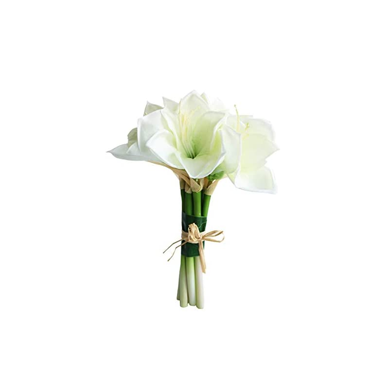 silk flower arrangements jasming real touch artificial amaryllis bush bridal bouquets wedding centerpieces home decor boutonnieres corsage real touch flowers faux lily (white)