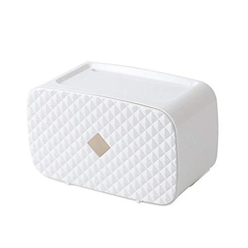 Waterdichte toiletrolhouder Papieren doos Handdoekhouder Wandmontage WC-rol Papieren standaard Case Buis Opbergdoos Badkameraccessoires, 1F wit