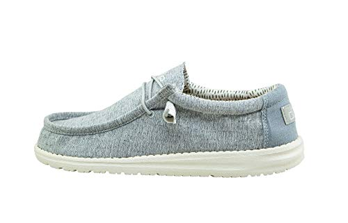 Hey Dude Men's Wally Chambray Blue Size 13   Men's Shoes   Men's Lace Up Loafers   Comfortable & Light-Weight