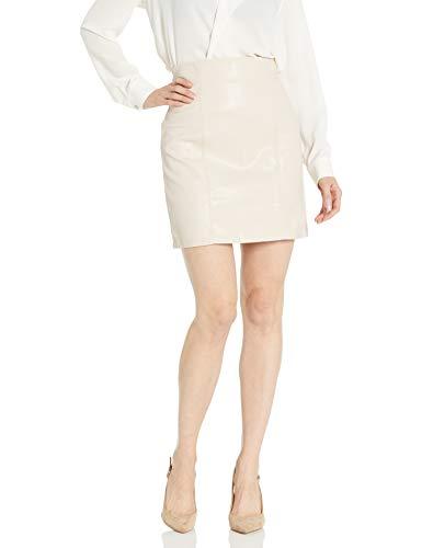 BB Dakota Junior's Girl Crush High Waisted Vegan Leather Skirt, Nude, 6