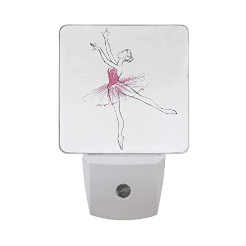 Hand zeichnen Ballerina Ballett Tänzerin Mädchen auf weißen Auto-Sensor-Dämmerung zu Dawn Night Light