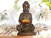 Lunartec - Lampe LED solaire en forme de Bouddha