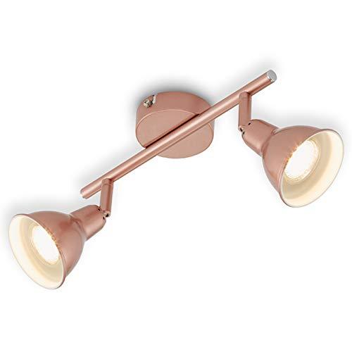 Briloner Leuchten Lámpara de techo LED, cobriza con diseño retro / vintage, iluminación, 2 bombillas de 3 W, GU10, 27.4 x 8.5 x 11 cm 3W, Cobre, 27,4x 8.5x 11cm
